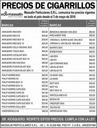 lista de precios de los cigarrillos