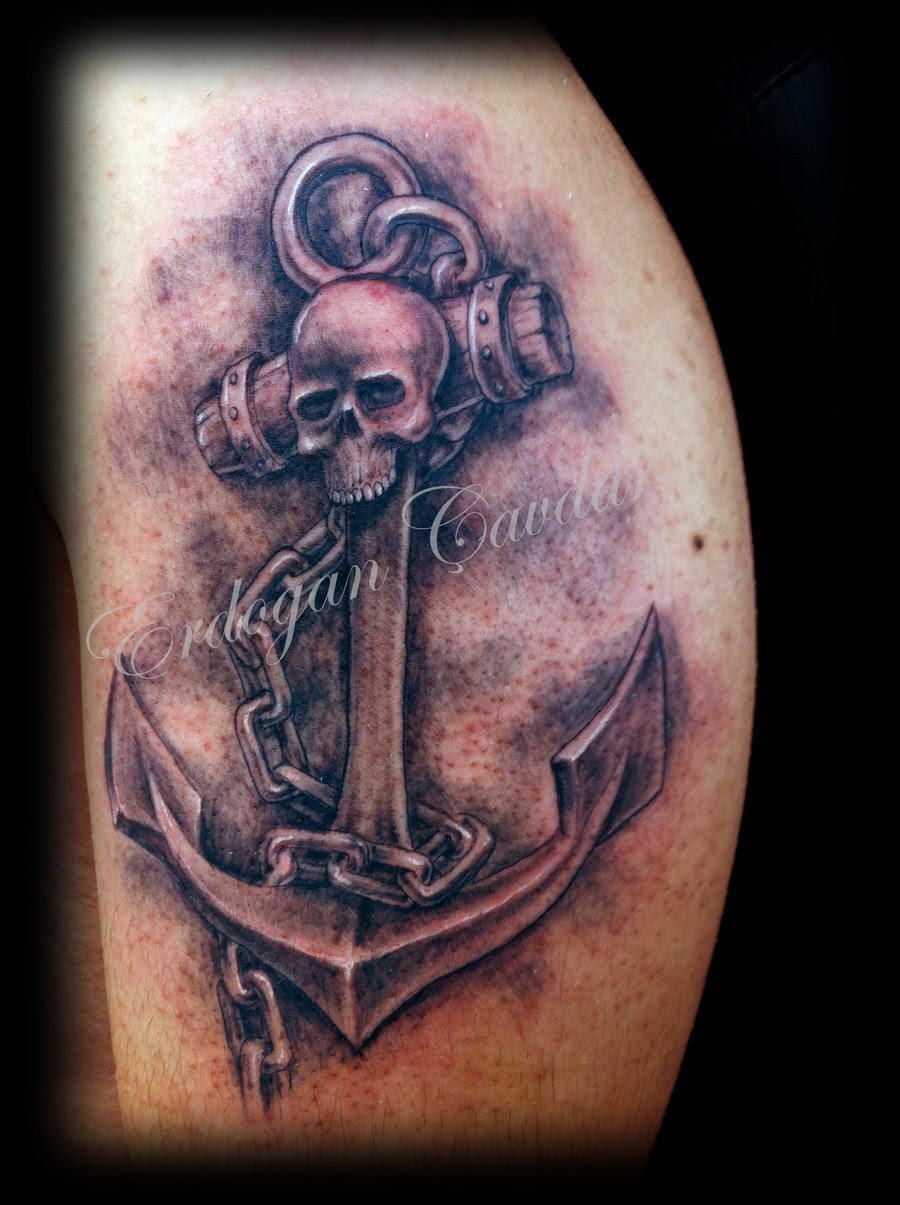 Skull Anchor Tattoo With Chain