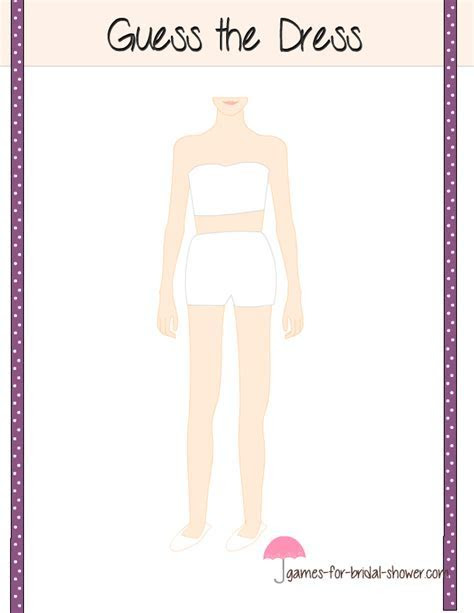 Guess the Dress, Free Printable Game for Bridal Shower