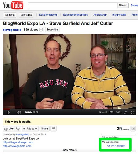 As Seen On Off On A Tangent - BlogWorld Expo LA - Steve Garfield And Jeff Cutler - YouTube by stevegarfield