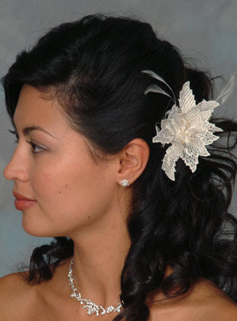 wedding hairstyle Short long hair Extended Lace Flower Hairpin with