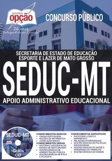 Concurso SEDUC MT 2017-APOIO ADMINISTRATIVO EDUCACIONAL