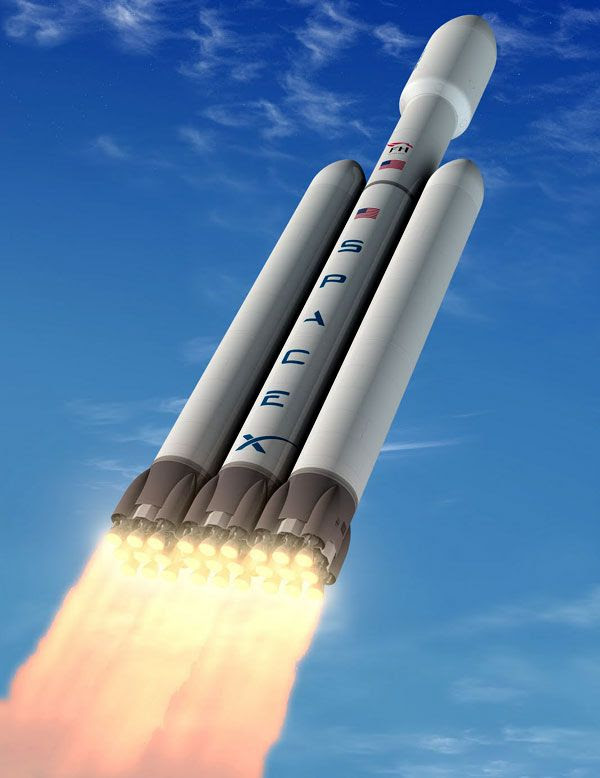 An artist's concept of the Falcon Heavy rocket soaring into the sky.