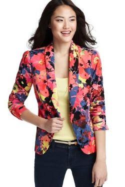 Spring Floral Fashion - Ann Taylor LOFT Floral Variety Drapey Crepe Blazer
