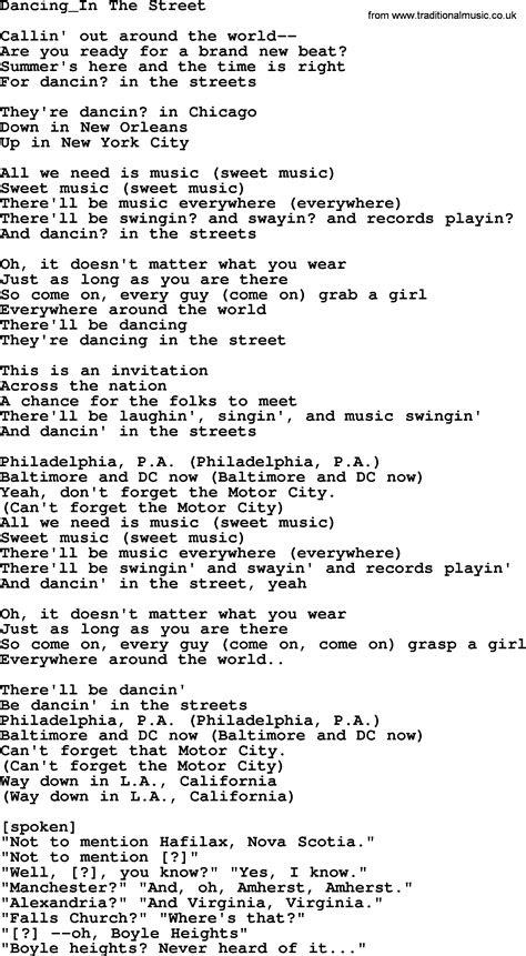 dancing   street   byrds lyrics