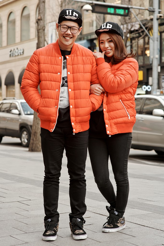 street style from matching couples in seoul  the fashion