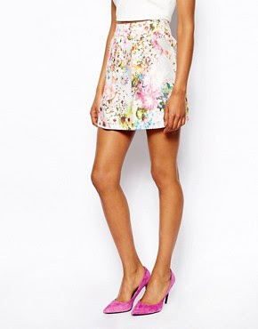 Image 4 of River Island Pretty Floral Print Mini Skirt