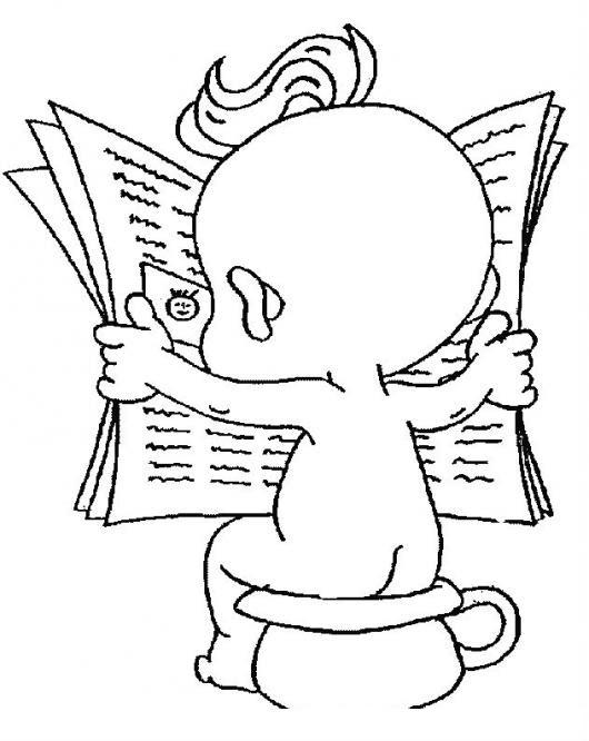 Dibujo De Bebe Haciendo Popo En Su Bacinica Leyendo La Prensa Para