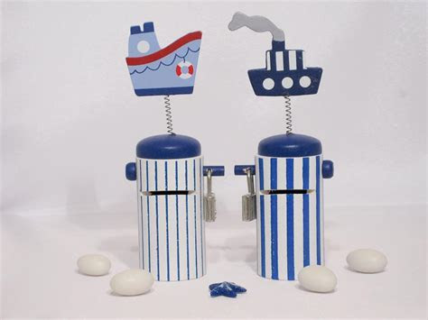 Nautical Navy and White Boat Wooden Money Box   Vada Creations