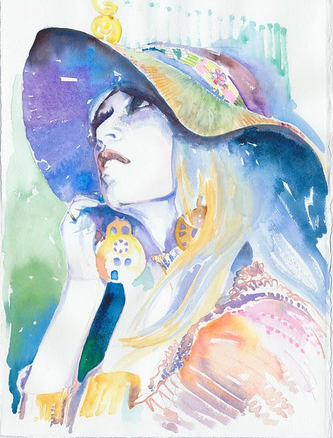Watercolour Fashion Illustration - Brigitte by silverridgestudio