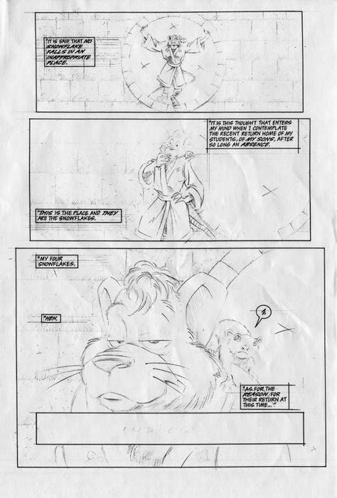 'The Forever War'   Unused TMNT Adventures 'The Forever War' pencils by Chris Allen ..((TMNTA story Never released)) Pg.1 .. [[courtesy of S. Murphy]]