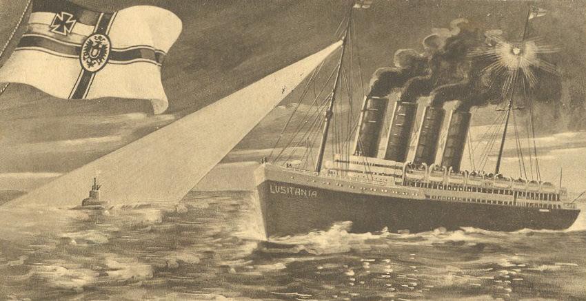 Postcard depicting SM U-20 sinking of RMS Lusitania. 1915