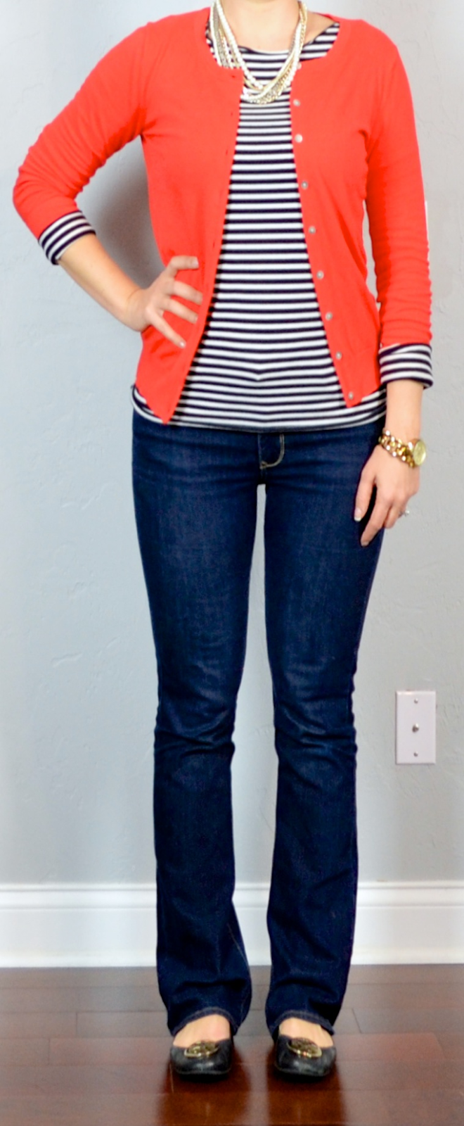 outfit post red cardigan striped shirt bootcut jeans
