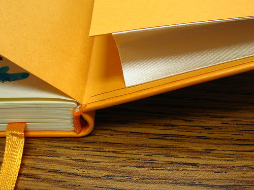 "Binding, bookmark, pocket, cover: parts of a Rhodia web notebook (""webbie"")"