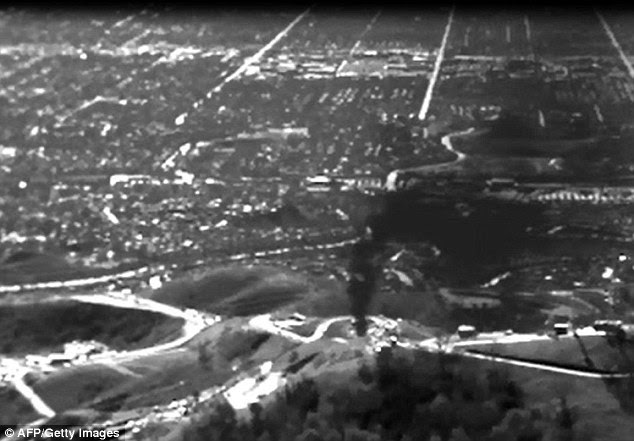 This infrared image released by the Environmental Defense Fund (EDF) shows methane gas leaking from the Aliso Canyon facility near the Porter Ranch suburb of Los Angeles