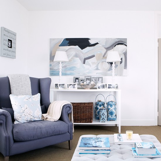 Coastal white and blue living room   Country decorating ideas