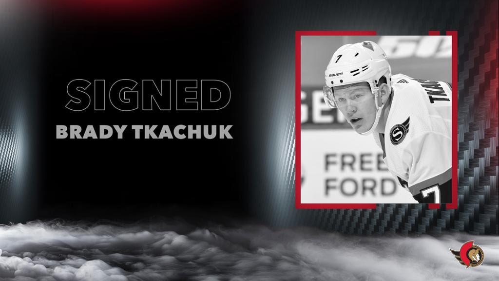 Ottawa Senators sign forward Brady Tkachuk to a seven-year contract