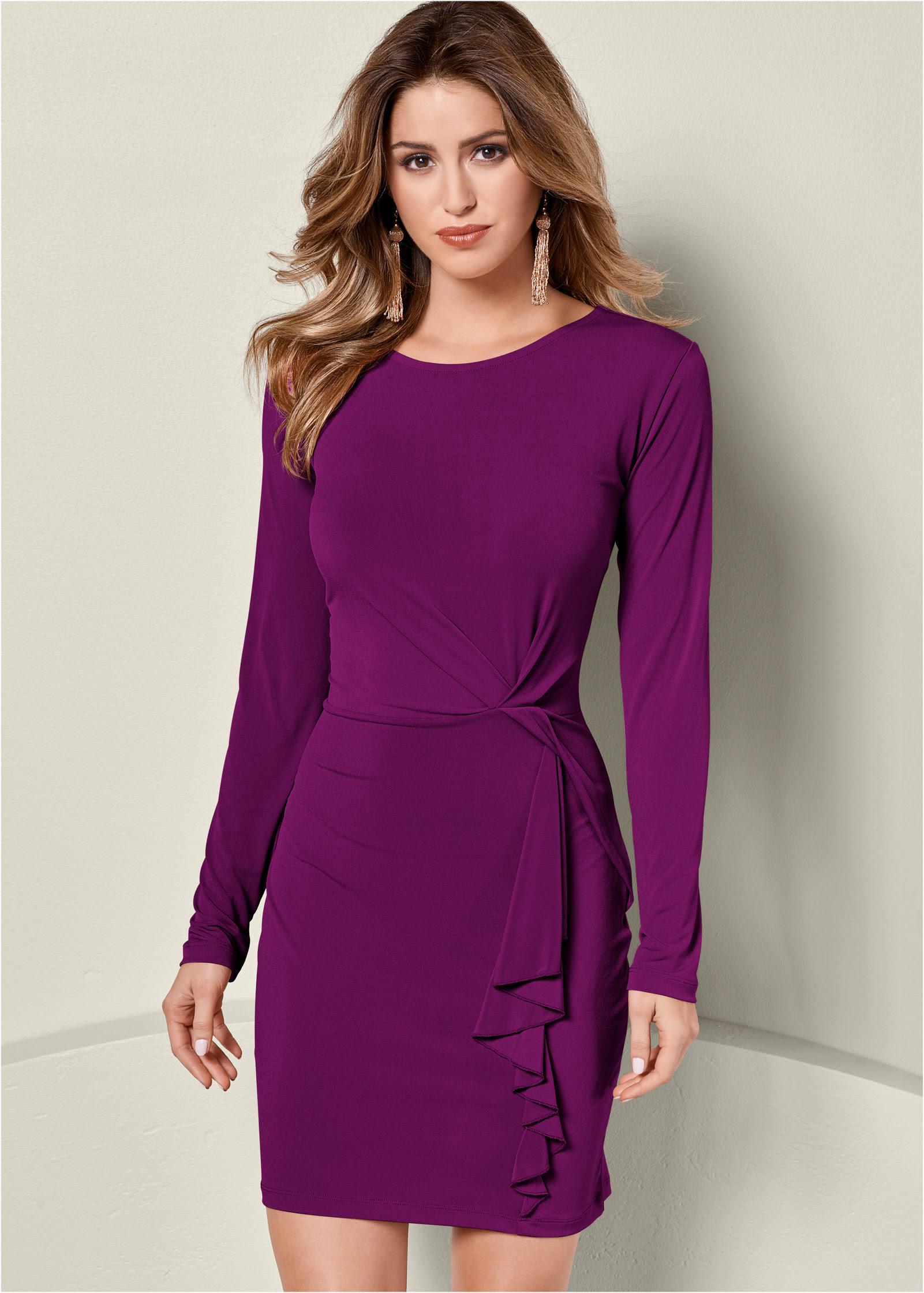 Long venus detail dress dress ruffle sheer