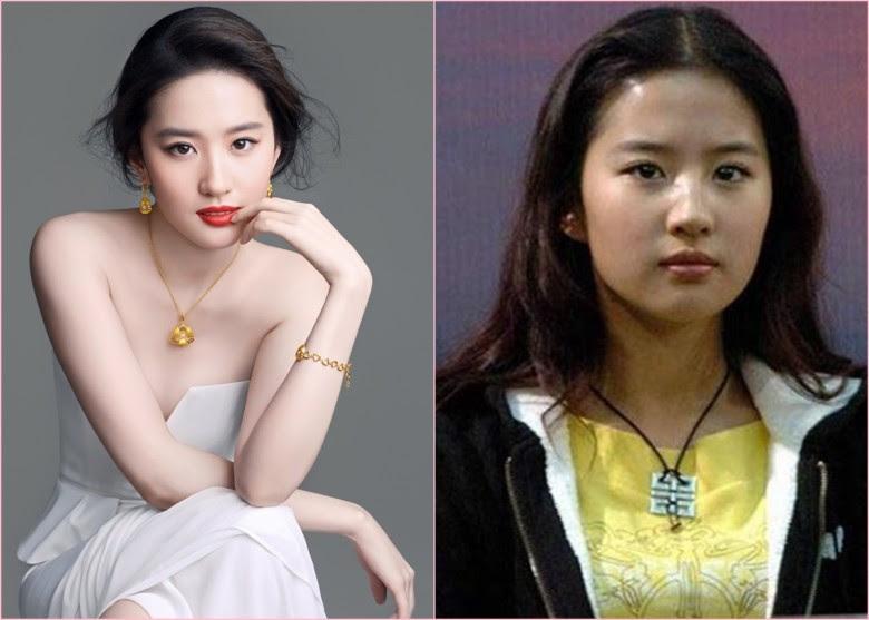 網友將劉亦菲的新(左圖)舊照片作對比,力指她改眉形、眼部、鼻、面曾經改形及隆下巴。