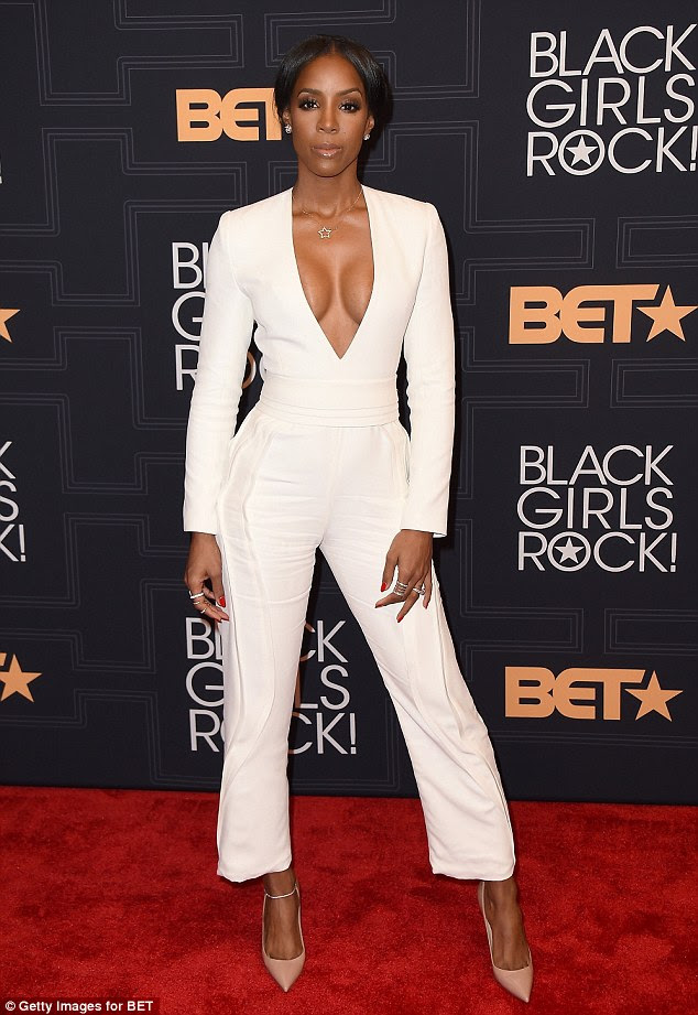 Less is more:For the show, the beauty donned a white jumpsuit featuring cropped trousers and long sleeves