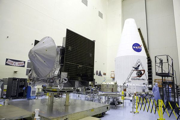 The OSIRIS-REx spacecraft undergoes launch processing inside the Payload Hazardous Servicing Facility at NASA's Kennedy Space Center in Florida.