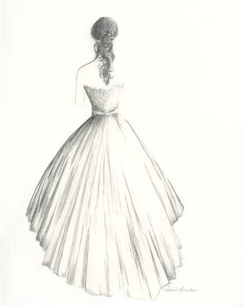Drawn wedding dress cute dress   Pencil and in color drawn