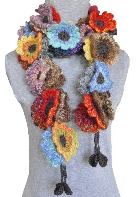 I like this idea! Crochet flower scarf.