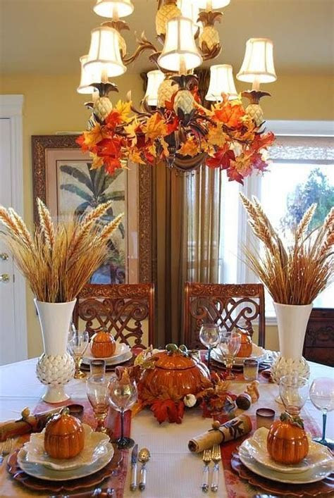 Beautiful Thanksgiving Table & Chandelier Pictures, Photos