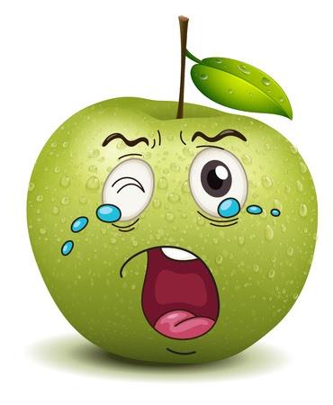 Darstellung weinen apple smiley auf weißem Hintergrund Stockfoto - 15337982