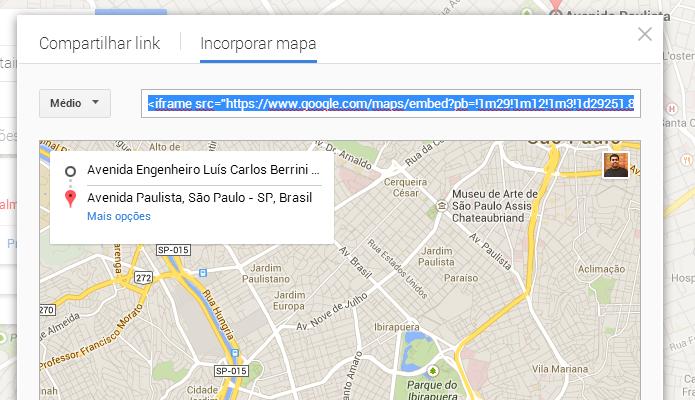 Escolha o tamanho do mapa que deseja incorporar (Foto: Reprodução/Paulo Alves)