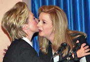 Hillary Clinton planting a kiss on the