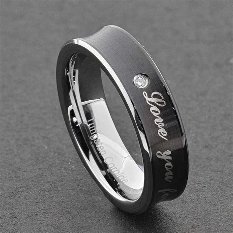 Tungsten Diamond Men Women Wedding Band Ring Black Silver