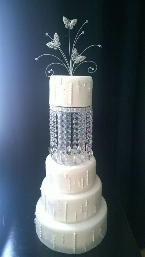 Tall Crystal tear drop design Cake Separators & matching