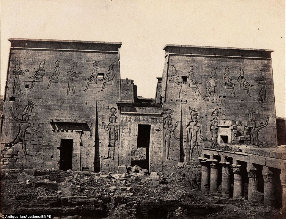 The Temple of Isis (Egyptian sun god) at Philae, pictured in 1840, was later moved because of the construction of the Aswan Dam in the 20th century