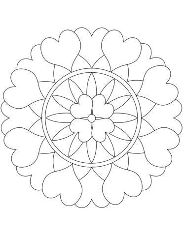 Dibujo De Mandala Con Corazones Para Colorear Dibujos Para