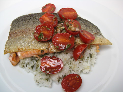 Trout with Rosemary & Cherry Tomato Sauce