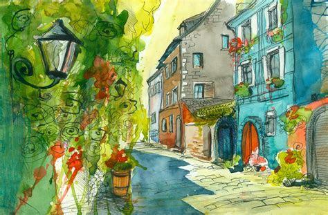 watercolor street house light flower hd wallpaper