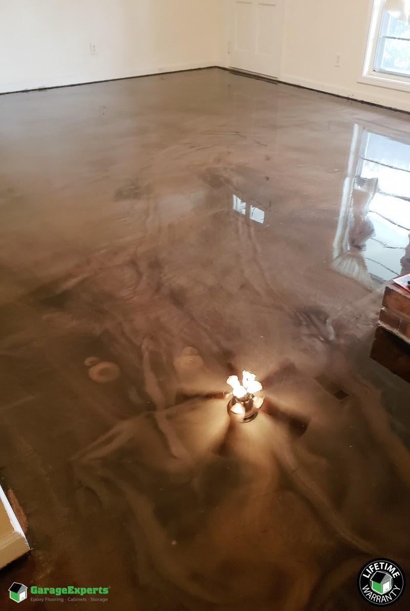 Residential Living Room Epoxy Flooring In Columbus Georgia