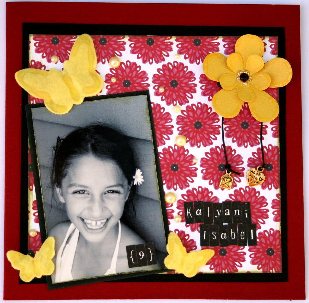 Forsiden på 9-årskortet til Kalyani :)