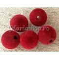 Margele catifea sfere 18mm rosii 3b