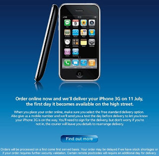 O2 UK accepts iPhone 3G online orders as of today, black ones only