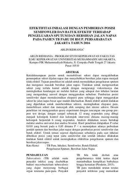 EFEKTIFITAS INHALASI DENGAN PEMBERIAN POSISI SEMIFOWLER