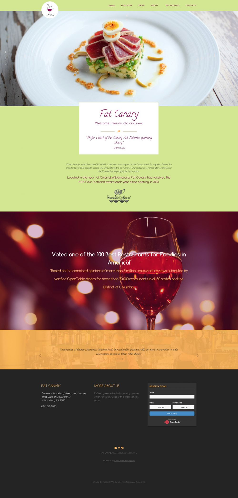 Fat Canary Restaurant Web Development Technology Partners Inc