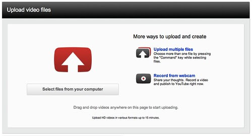 New Upload your video Page on YouTube by stevegarfield