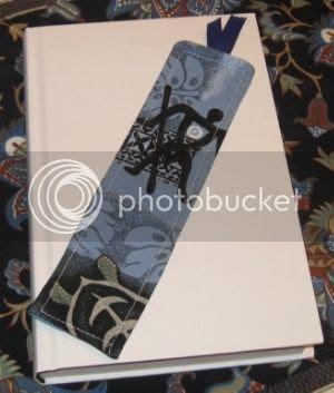 Fun blue design, handmade bookmark