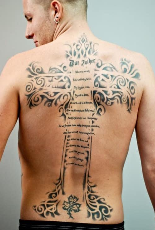 Cross And Script Tattoo Tattoo Bytes