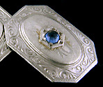 Elegant sapphire cufflinks. (J8968)