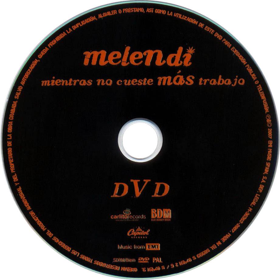 Carátula Dvd De Melendi Mientras No Cueste Mas Trabajo Portada