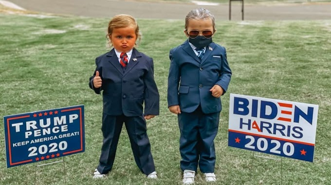 TREND ESSENCE: Twin girls, 4, wear Trump, Biden costumes for Halloween