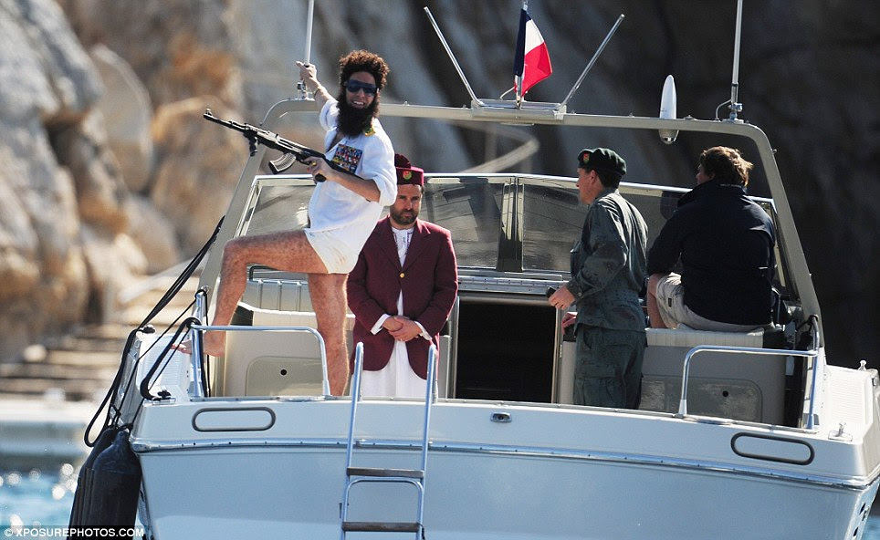 Hello, Cannes! Cohen looked in great spirits as his boat docked outside the Eden Roc hotel